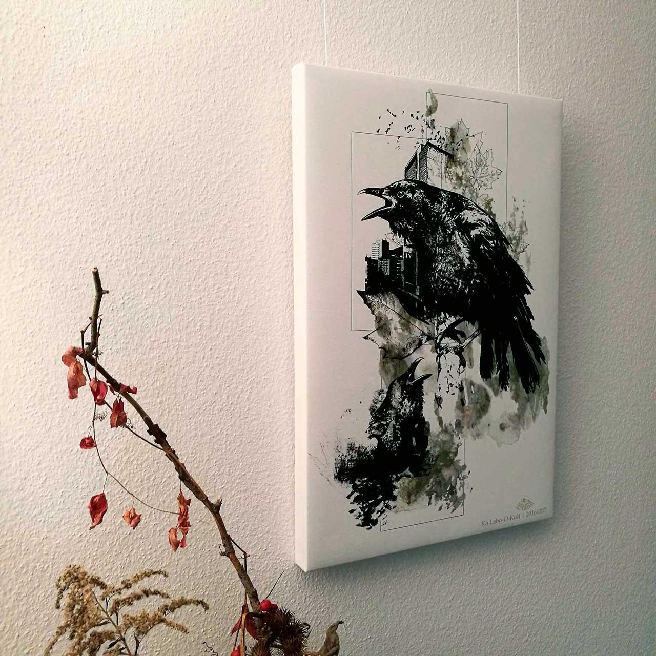 """Corvus Corvus"" – HelvEdition Mixed Media Illustration by Ka L-O-K Fine Art Canvas Print"